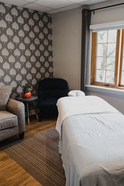 Comfortable and cozy massage rooms for prenatal and postnatal massage treatments