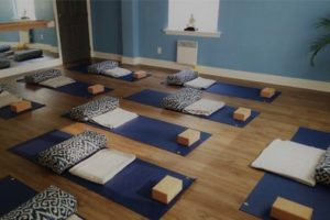 Yoga studio set up for prenatal yoga
