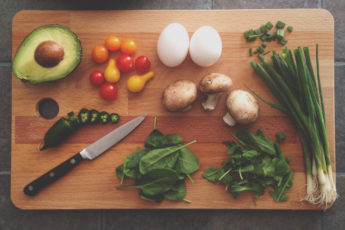 Cutting board of healthy foods